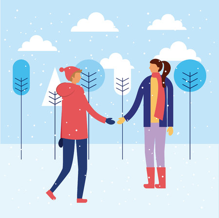 happy winter vacation couple holding hand outdoor snow vector illustration