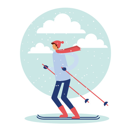 happy winter vacation boy ski enjoy vector illustration