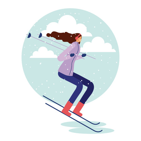 happy winter vacation woman listen music ski vector illustration 向量圖像