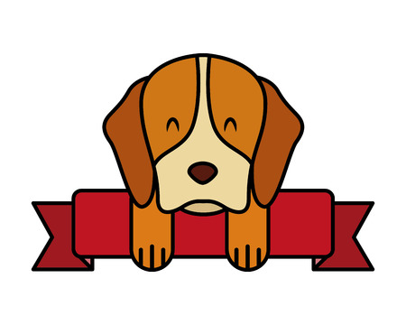 pet dog with ribbon on white background vector illustration Illustration