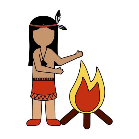 native american character cartoon bonfire vector illustration
