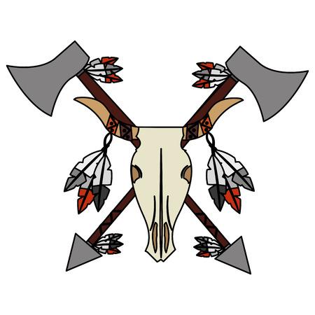 bull skull native american weapons vector illustration Stock Illustratie