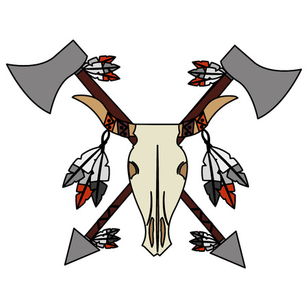 bull skull native american weapons vector illustration Illustration