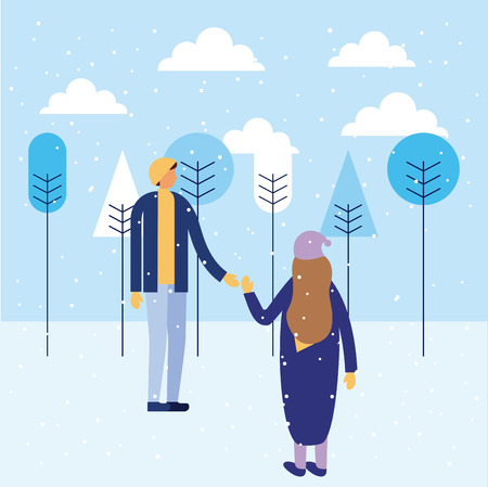 happy winter vacation brothers playing snow vector illustration Çizim