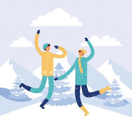 happy winter vacation boys using scarfs jumpin vector illustration
