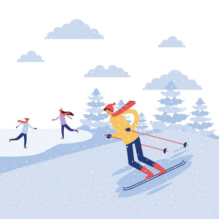 happy winter vacation girls jumping wman ski vector illustration Illustration