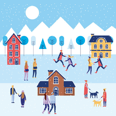 winter vacations houses skate on ice people doing activities vector illustration