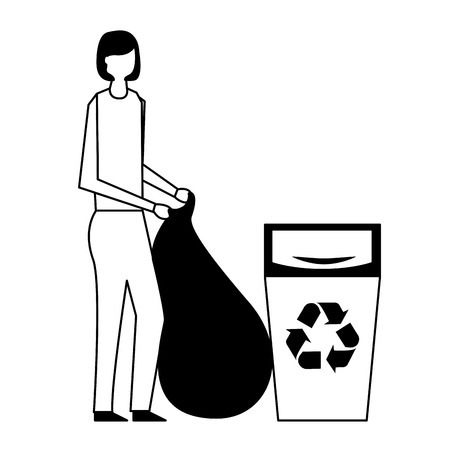 volunteers help recycling can woman cleaning vector illustration