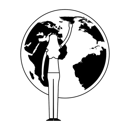 volunteers help woman point world vector illustration