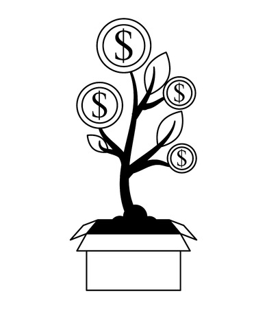 plant coins dollars sign money vector illustration