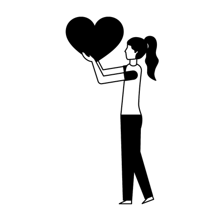 volunteers help cute woman hold heart love vector illustration