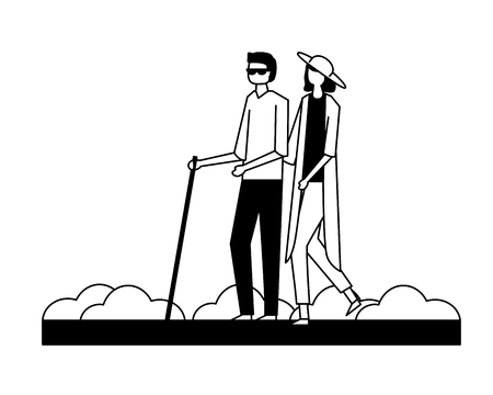 volunteers help woman carry blind person in the street vector illustration Ilustração