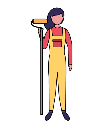 repairwoman with roller paint professional labor vector illustration Illustration