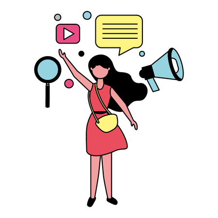 woman with social media icons vector illustration