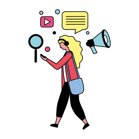 woman using mobile with social media icons vector illustration