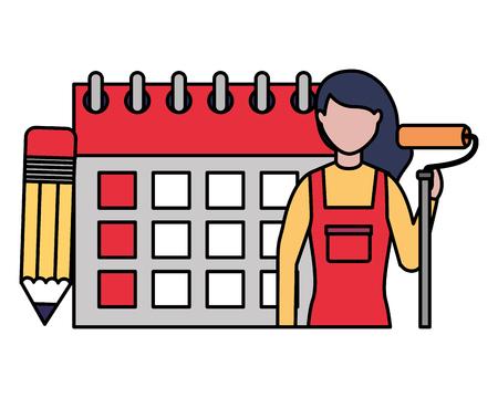 repair woman calendar labor day vector illustration white background vector illustration