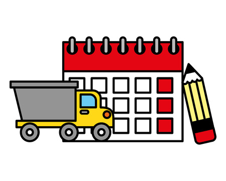 truck and labor calendar and pencil vector illustration