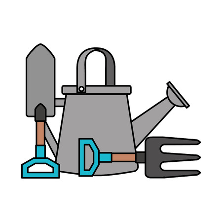 watering can shovel and fork gardening vector illustration Stockfoto - 110882758