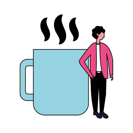 businessman with hot coffee cup vector illustration