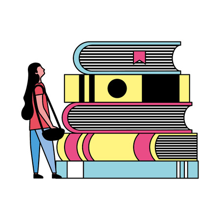student woman and stack books vector illustration Çizim