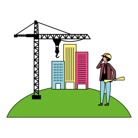 architect man with construction crane and buildings vector illustration  イラスト・ベクター素材