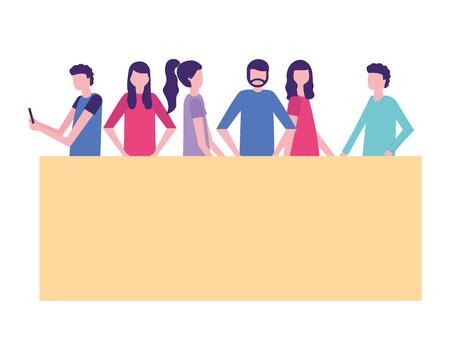 community activity women and men interacting vector illustration Ilustração