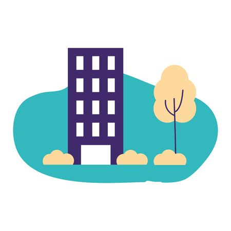 community activity building park trees clouds outdoor vector illustration