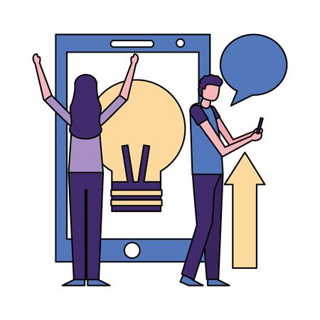 smartphone screen light bulb arrow man and woman chat vector illustration  イラスト・ベクター素材