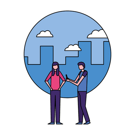 man using mobile and woman in the city vector illustration Ilustrace