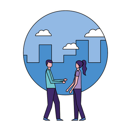 man and woman standing in the city vector illustration