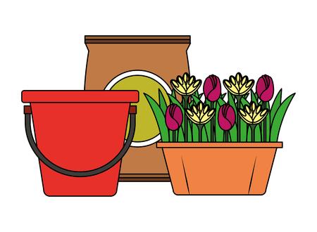 bucket and flowers in pot sack soil gardening vector illustration Illustration