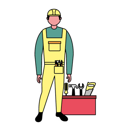 builder character construction toolbox equipment vector illustration