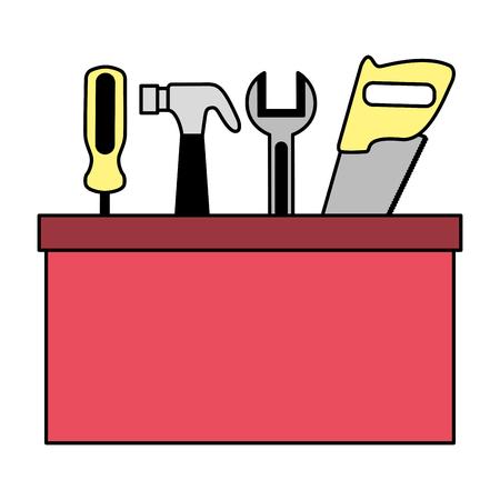 construction repair tool box on white background vector illustration Illustration