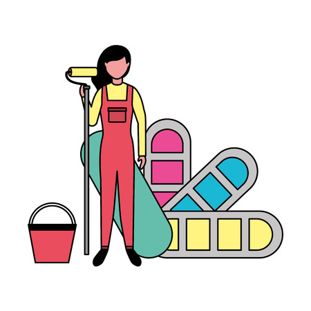 repair woman with roller paint palette color vector illustration Illustration