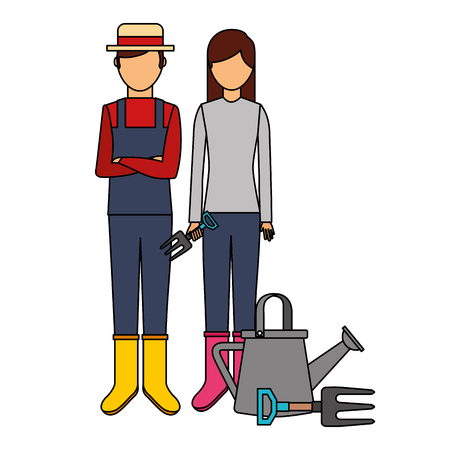 gardener man and woman with watering can gardening vector illustration 向量圖像
