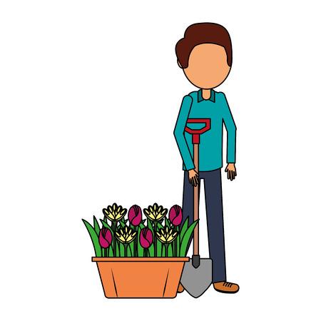 gardener man with shovel and flowers gardening vector illustration