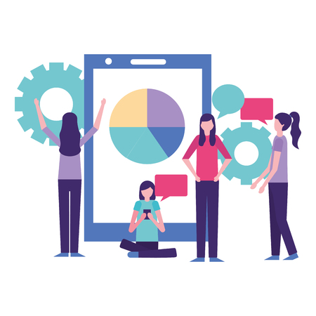community activity smartphone graph wheels people using telephone vector illustration