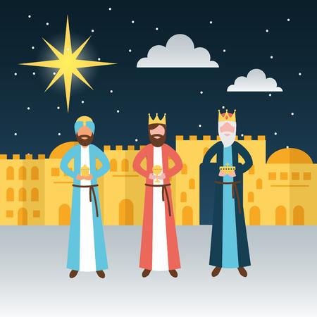 manger epiphany castle wise men gifts shooting star vector illustration