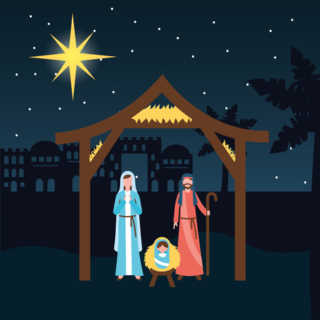 manger epiphany castle desert sacred family baby vector illustration
