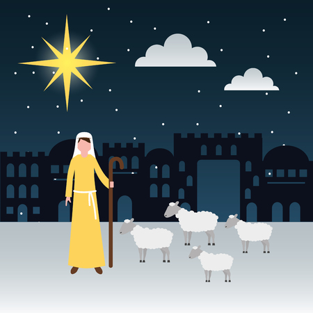 manger epiphany shepherd with sheeps castle desert vector illustration Ilustrace