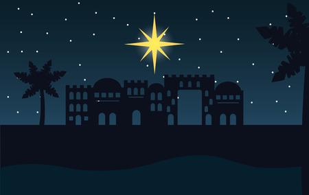 pesebre, epifanía, castillo, desierto, estrella fugaz, vector, ilustración Ilustración de vector
