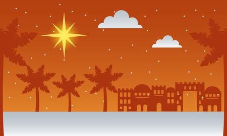 manger epiphany palms desert castle shooting star vector illustration