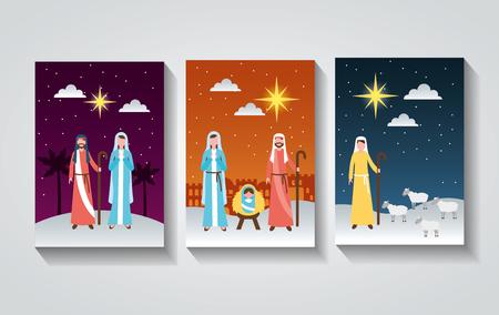 manger epiphany banners maria joseph shepherd sacred family vector illustration Stock Illustratie
