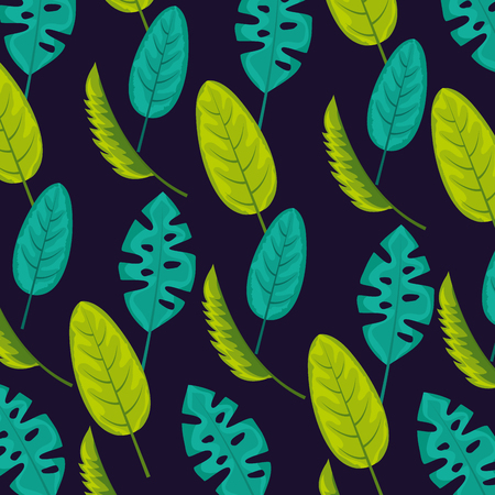 tropical natural leaves fall plants background vector illustration Çizim
