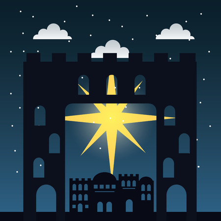 manger epiphany shooting star clouds castle vector illustration