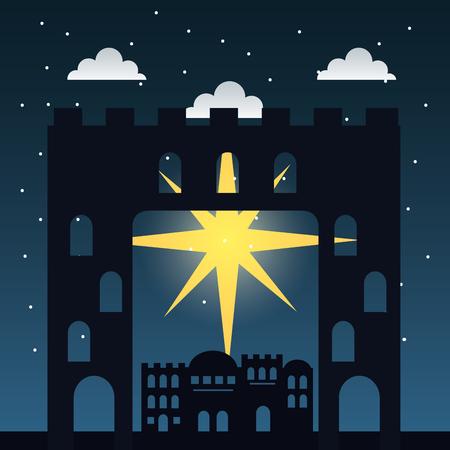 manger epiphany shooting star clouds castle vector illustration