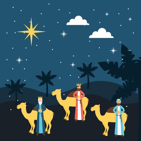 manger epiphany palms dessert camels wise men stars vector illustration Illustration