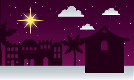 manger epiphany desert castle palms shooting star night vector illustration Иллюстрация