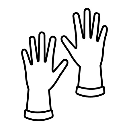 Diseño de ilustración de vector de icono de guantes de goma industrial