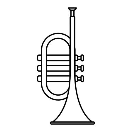 Trompeta musical icono aislado diseño ilustración vectorial Ilustración de vector